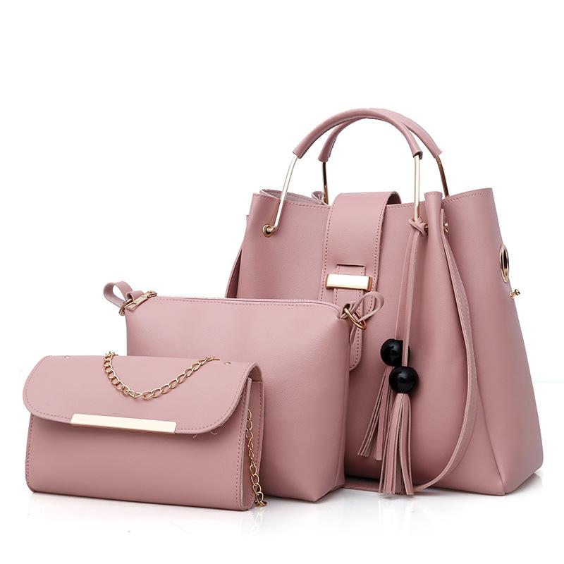 新款时尚斜挎包单肩斜挎包女士多件套包包子母包bag set保