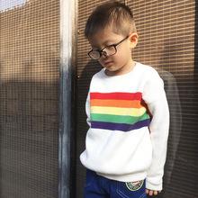 優質純棉2018新款兒童毛衣 彩虹針織純棉套童裝毛衣