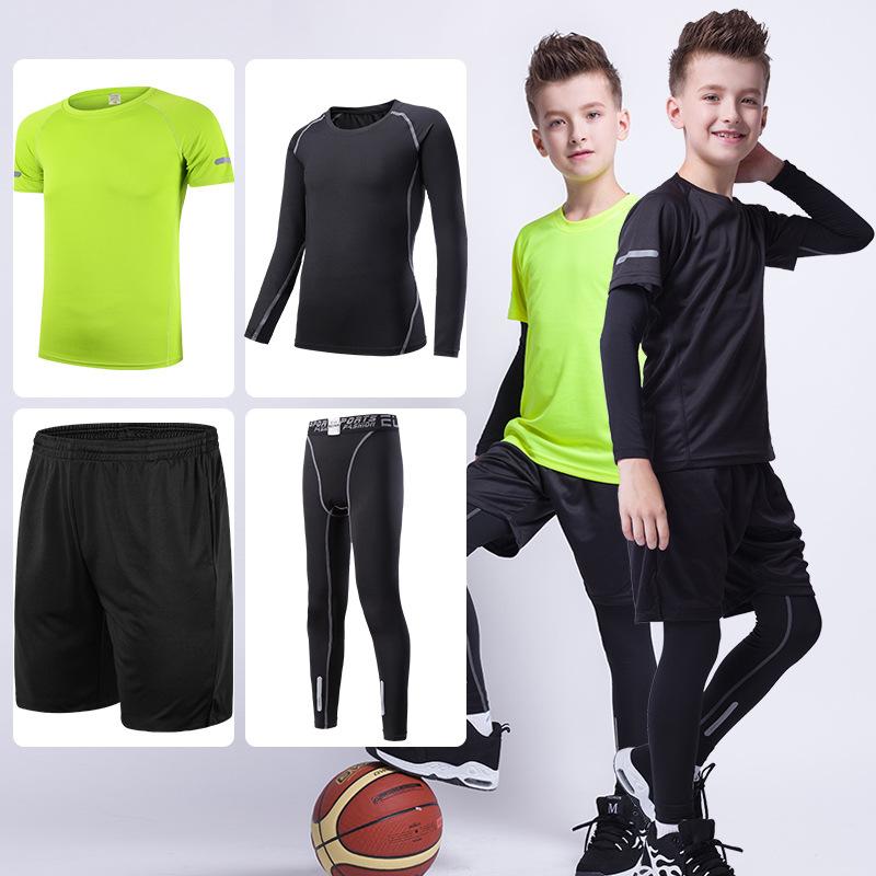 儿童健身套装 速干短袖短裤紧身长袖长裤四件篮球运动打底服装