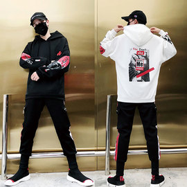 Guard suit fall teenagers hooded trend casual hip-hop sportswear men's two-piece set