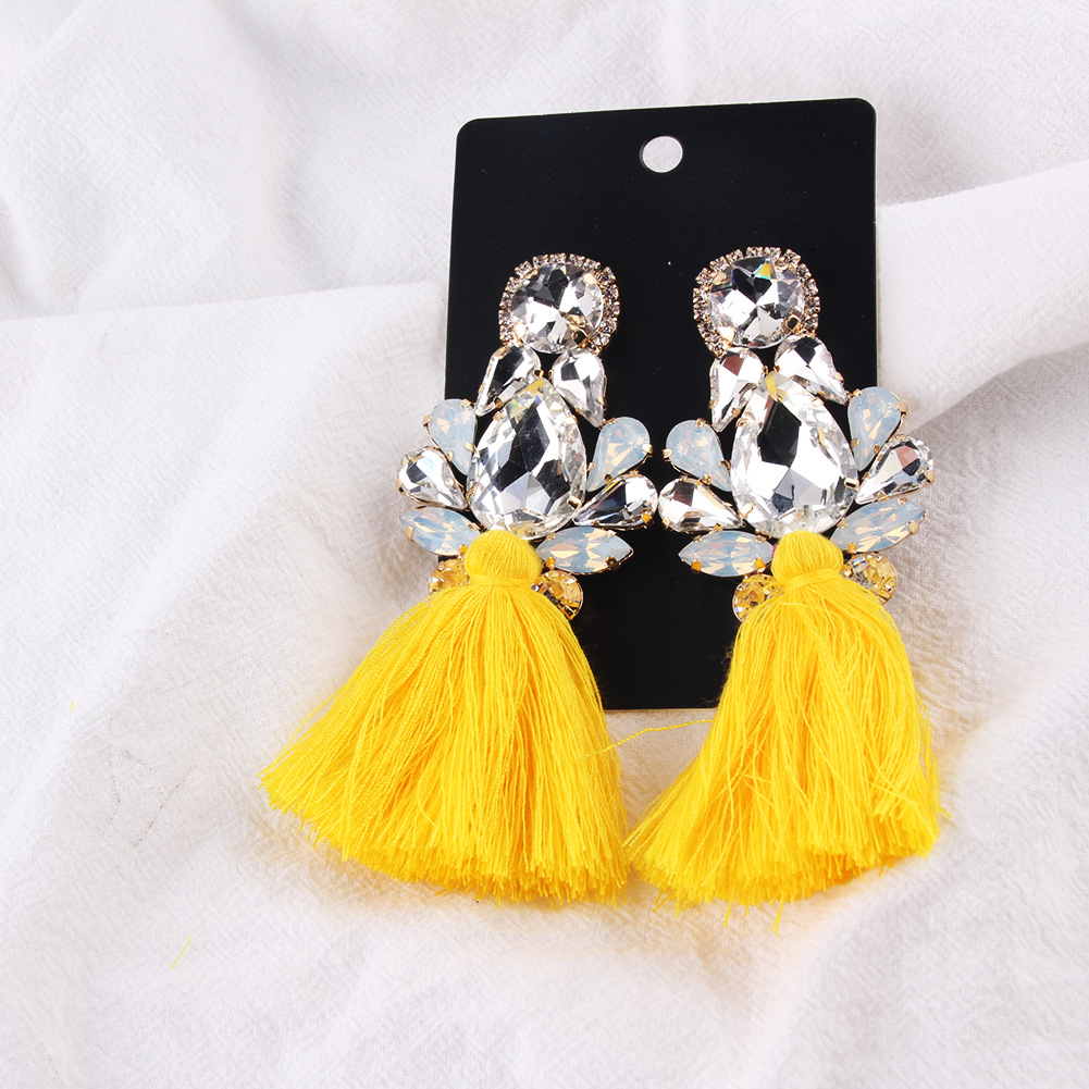 Imitated crystal&CZ Bohemia Flowers earring  (yellow) NHJQ11171-yellow