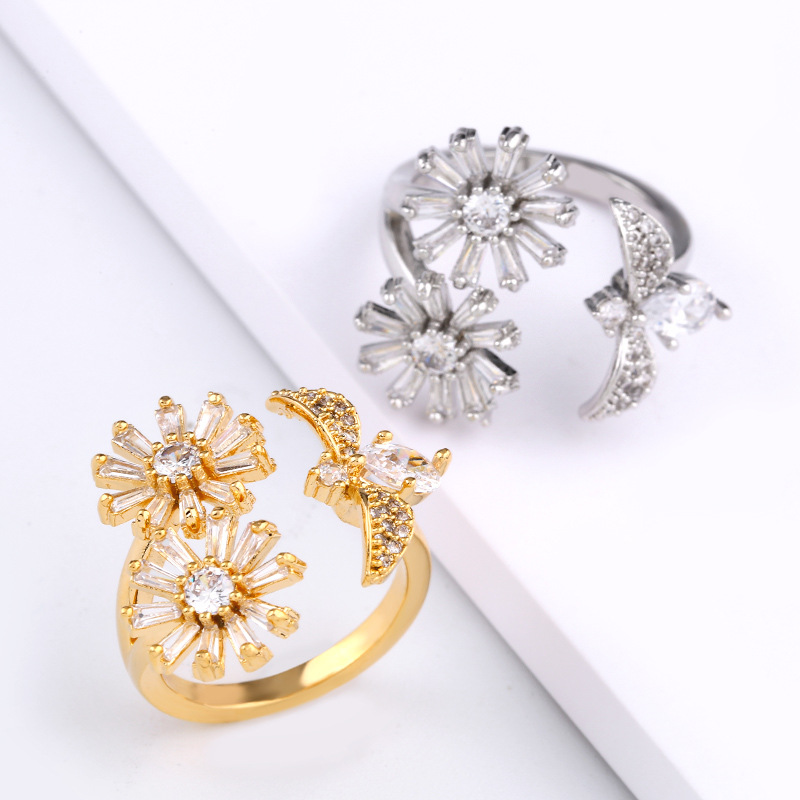 Copper Simple Flowers Ring  (Alloy)  Fine Jewelry NHAS0459-Alloy