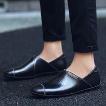 2019夏季英伦男士头层牛皮豆豆鞋驾车鞋懒人大码休闲尖头鞋一脚蹬