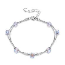 莱卡尼采用来自奥地利水晶手链女 简约设计925纯银方糖手环SVH175