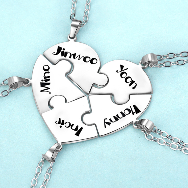 Custom DIY Girlfriends Puzzle Necklace Custom-made Three Or Four Or Five Brothers Pendant