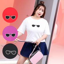 Spring and summer 200 pounds fat MM plus fertilizer to increase extra large size women's hot drilling sunglasses T-shirt 1820