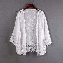薄棉開衫蕾絲鏤空白色夏季小外搭防曬空調衫寬松沙灘外套短款女新