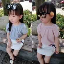 2021夏季新款童装 女童韩版棉麻套装 中小童时尚竖条纹两件套