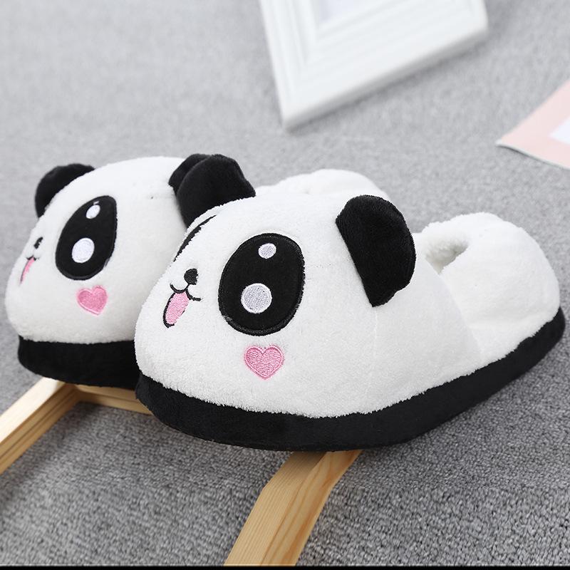 超萌桃心熊猫拖鞋 卡通毛绒包跟拖鞋 居家可爱冬季包跟棉拖鞋
