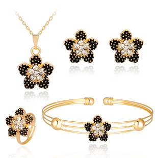 Hot-selling necklace set in Europe and America, exquisite alloy diamond-studded flower necklace and earrings four-piece set Danby jewelry