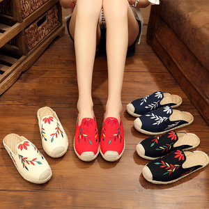 Tai chi kung fu shoes for women Embroidered leaf beijing shoes slippers women beach shoes hemp rope straw woven fisherman shoes