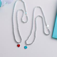 红心项链佛珠子s925纯银项链女 红色爱心手链手饰欧美新款热卖