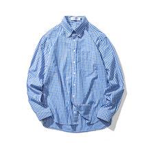 2018秋季新款格子衬衫男 清新学院风学生港风长袖薄款衬衣男潮牌