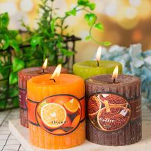 复古派对婚礼香薰蜡烛 竖条纹经典香味圆柱蜡 创意浪漫婚庆装饰蜡
