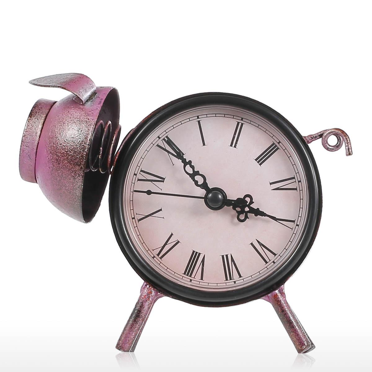 TOOARTS铁艺时钟复古家居装饰摆件 小猪时钟家居客厅办公桌摆件