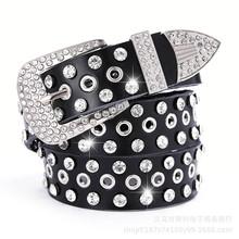 厂家直销 韩版水钻女士皮带 白色带钻女式真皮镶钻满钻女带钻腰带