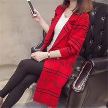 2018格子大衣女秋冬新款韩版毛衣女仿双面绒装中长款针织开衫外套