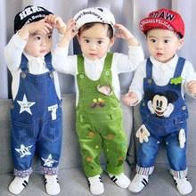童装1-2-3-4岁男童秋装套装秋季宝宝牛仔背带裤婴幼儿童潮