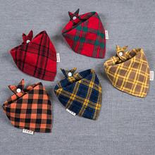 新款纯棉双层加厚婴幼儿三角巾复古风格子按扣男女宝宝围嘴口水巾