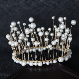 Crown cake decoration highlight handmade seaweed pearl baking round headdress birthday party accessories hair accessories bride