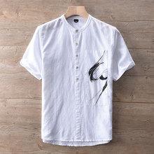 9037款亚麻开胸立领套头短袖衬衫抽象水墨画复古文艺潮男士麻衬衫