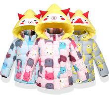男童女童冬季童裝外套新款時尚加厚卡通外套連帽長袖棉襖保暖棉衣