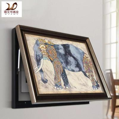 北欧装饰画现代简约液压式上翻电表箱装饰画餐厅走廊北欧油画挂画