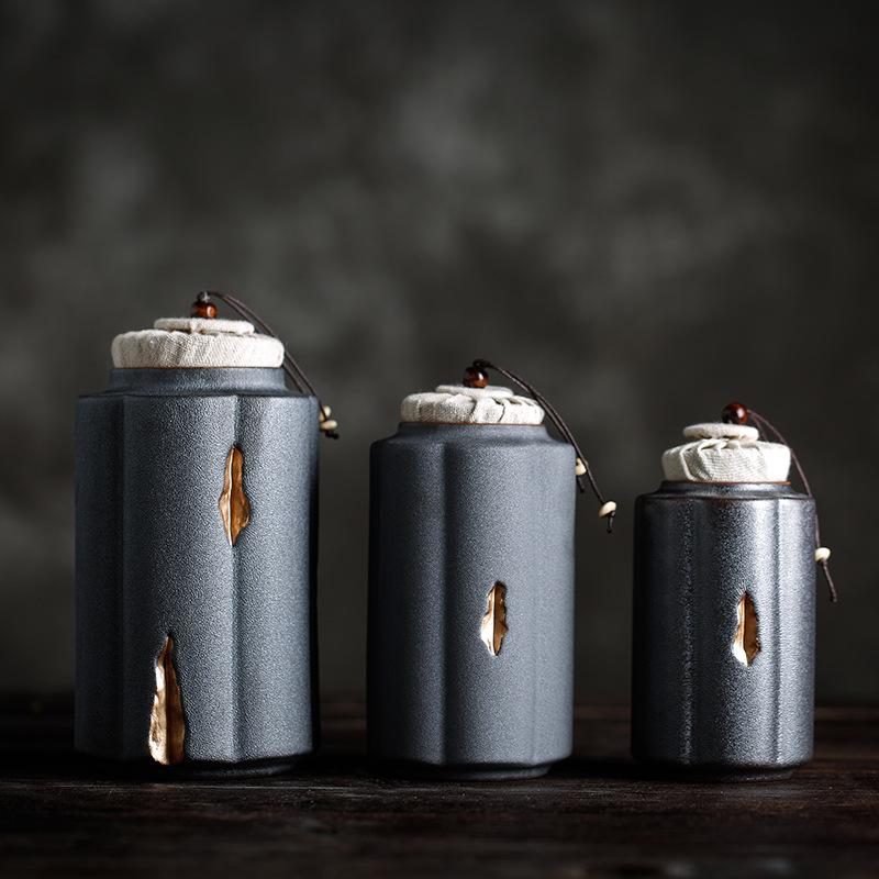 禅器陶瓷茶叶罐 手工复古粗陶密封罐大小号茶仓 红茶普洱储茶罐