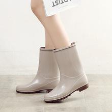 出口日本中筒女式雨靴 PVC亮面描边时尚雨鞋 时尚水鞋