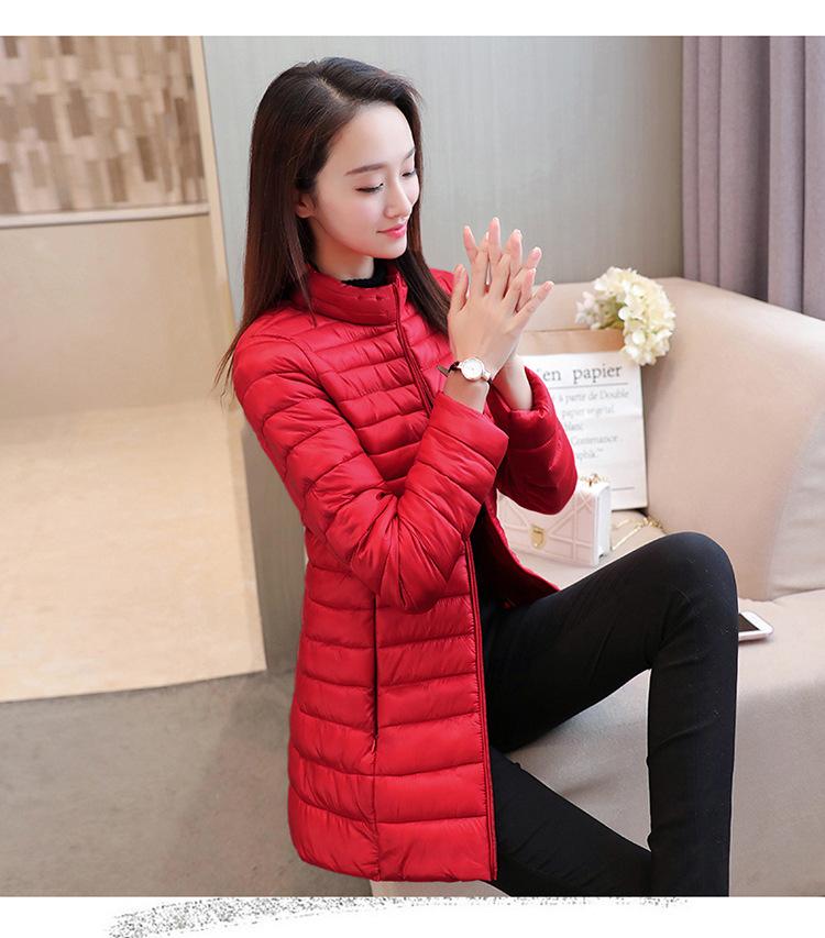 2018冬季新款女式中长款轻薄羽绒棉衣韩版连帽修身显瘦棉袄妈妈款