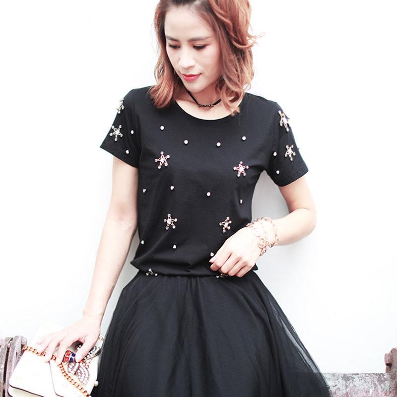 短袖t恤女2020新款夏重工镶钻钉钻立体星星质感T恤女 品质女装