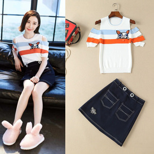 Sweet fashion 18 spring and summer new women's wear, new round neck collar, short sleeved striped jacket + cowboy half s