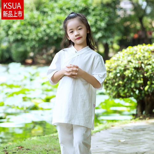 children boy girls wushu martial arts stage performance clothing  Cotton linen Tai Chi kung fu suits yoga  Meditation clothes for kids