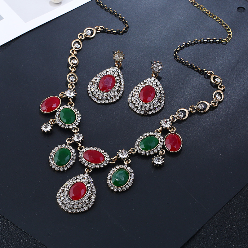 Alloy Bohemia  necklace  (Ancient KC alloy red green) NHKQ1853-Ancient-KC-alloy-red-green
