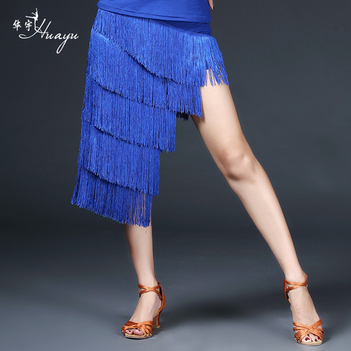 red royal blue tassels Latin dance skirts  performance dress Latin clothing