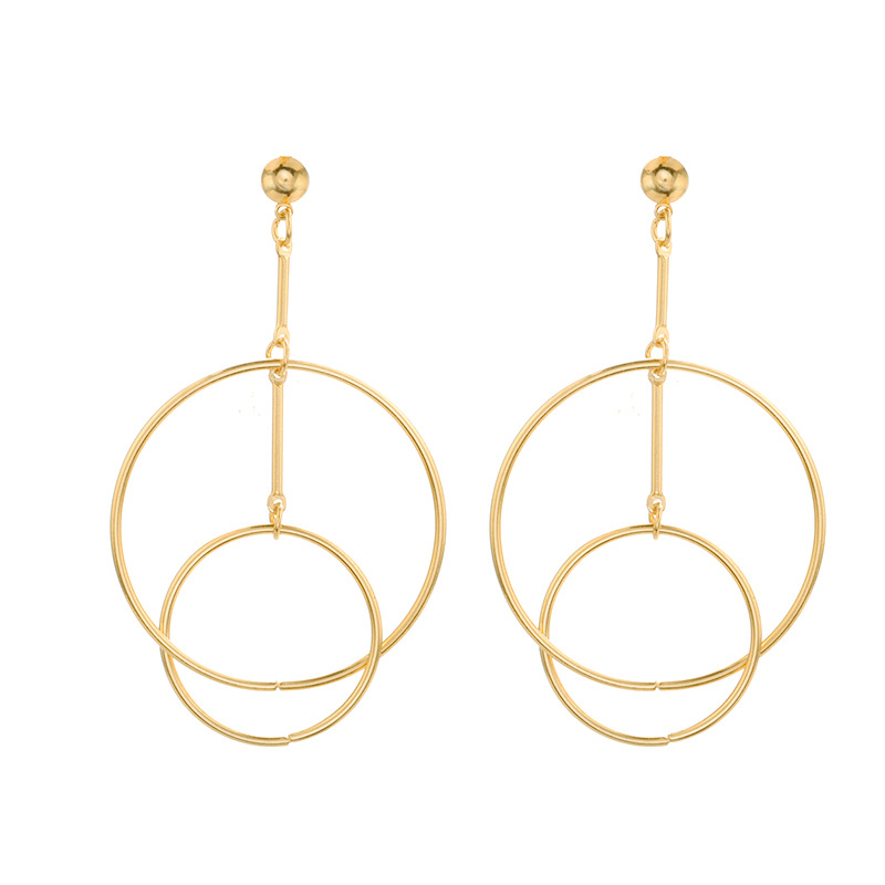 Circle combination earrings simple hollow metal NHPV175183