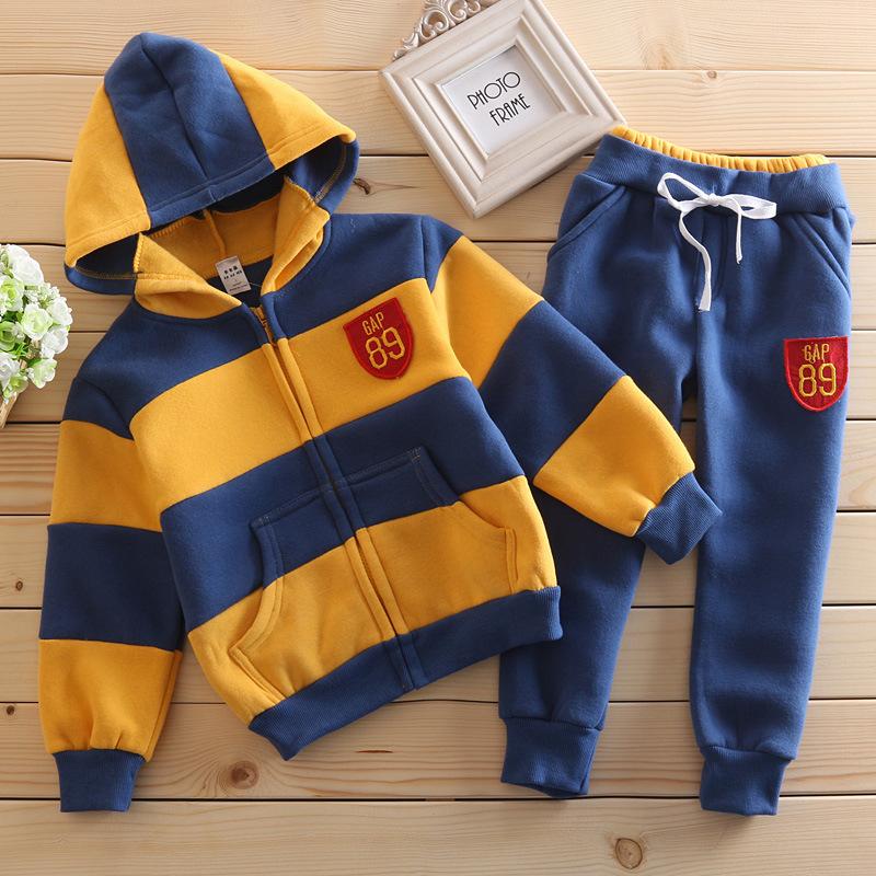 秋冬款男女童装儿童磨毛微厚GAP套装纯棉卫衣套装抓绒儿童外套