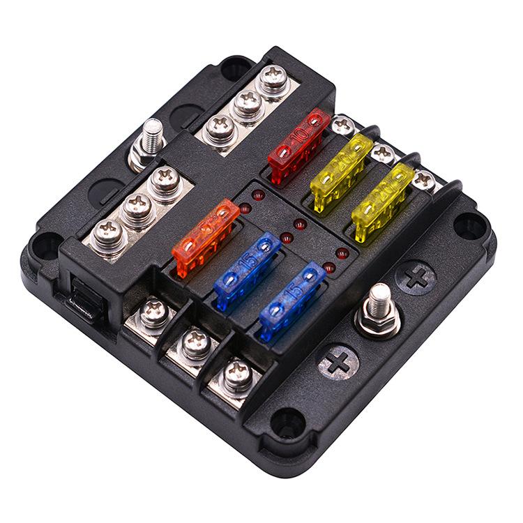 厂家直销汽车改装保险盒6路插片式通用带led灯螺丝接线套装1进6出