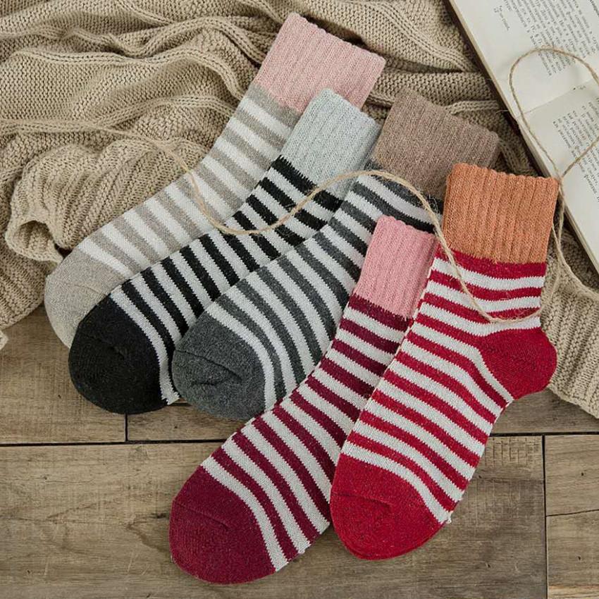 粗线兔羊毛混女中筒冬季加厚保暖袜子批发条纹女士线袜高罗口运动