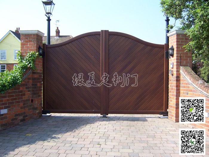 绿夏自动门-钢木复合庭院门-平开门-别墅大门 木门 实木门 钢木门