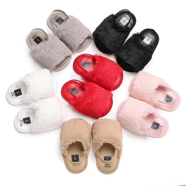 婴儿鞋 2018夏季款0-1岁男女宝宝鞋软底毛毛新生儿凉鞋学步鞋
