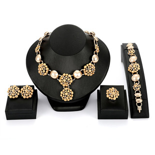 2018 new European and American exaggerated alloy diamond jewelry necklace earrings ring bracelet four-piece factory direct sales