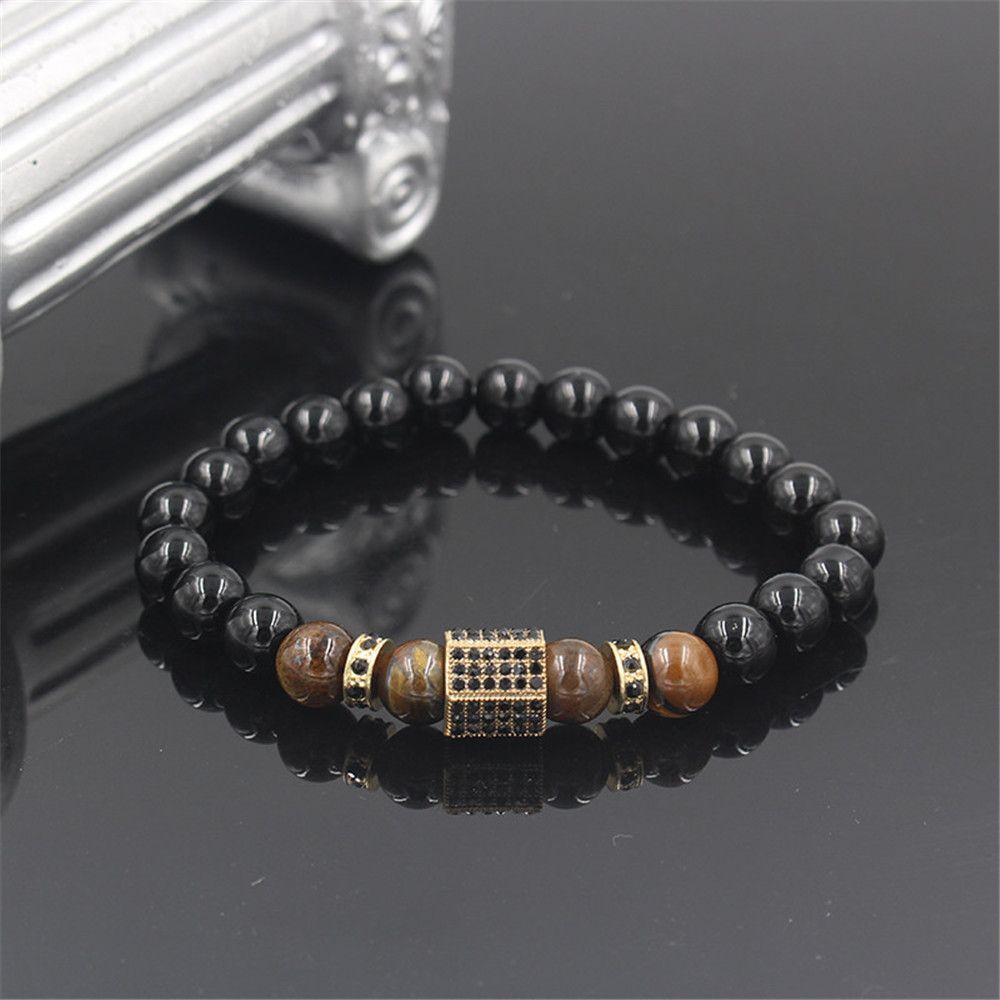 Fashion Black Diamond Tiger's Eye Micro Diamond Wheel Bead Separator Bracelet NHZU198273