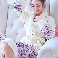 睡袍女冬季珊瑚绒浴袍家居服长款冬天加厚加绒法兰绒性感睡衣浴衣
