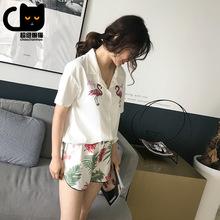 [超級懶貓]2018夏季新品短袖女士睡衣 純棉翻領開衫兩件套家居服
