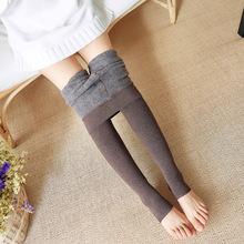 仿羊绒发热纤维一体裤斜纹加绒加厚高密分层踩脚打底裤