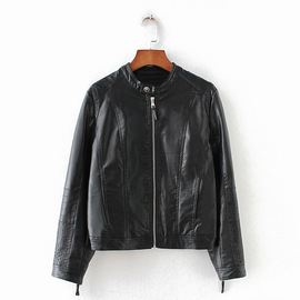 B0375RG6136 European and American women's   autumn and winter standing collar zipper leather jacket