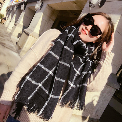 Black and White Check Scarf Red Check cashmere scarf air conditioning shawl
