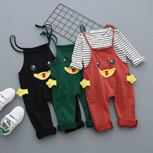 儿童男女婴儿服装春款新生背带裤两件套童套装条纹宝宝衣服批发潮