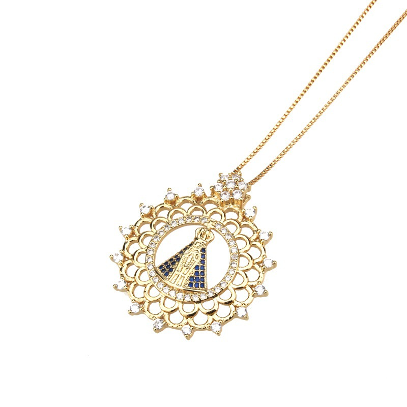 Copper Fashion Cross necklace  (Alloy-plated white zirconium) NHBP0149-Alloy-plated-white-zircon